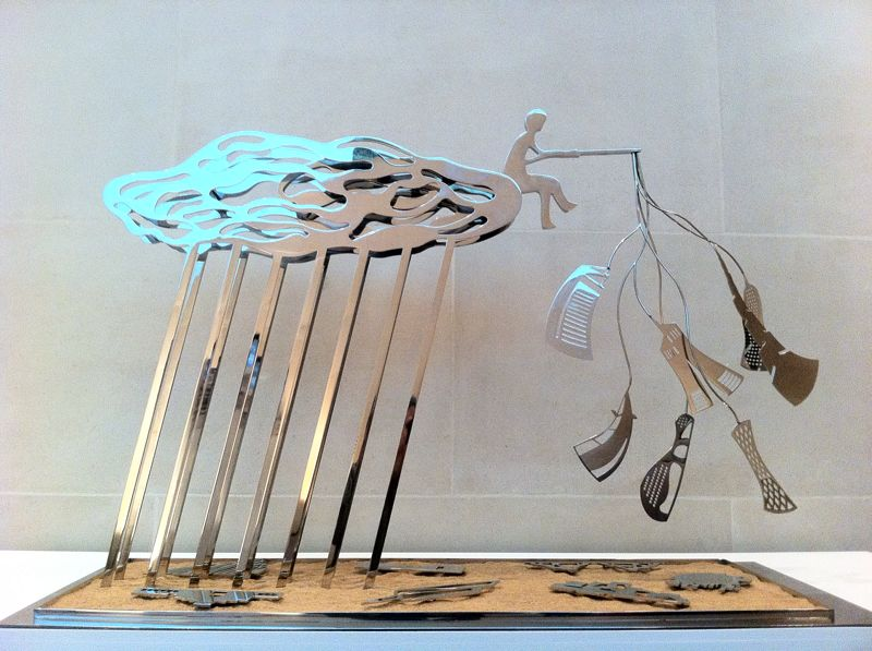 'The Cloud, The Fisherman and The Mutating Cities', 2012, Stainless steel and Sand