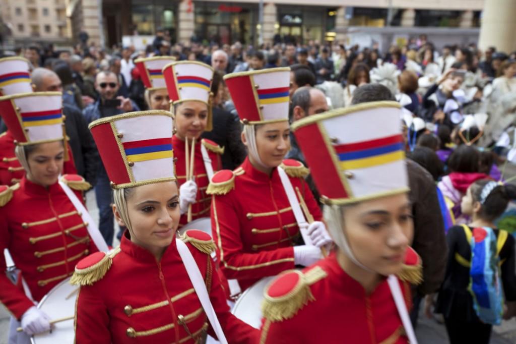Female musicians lead the procession