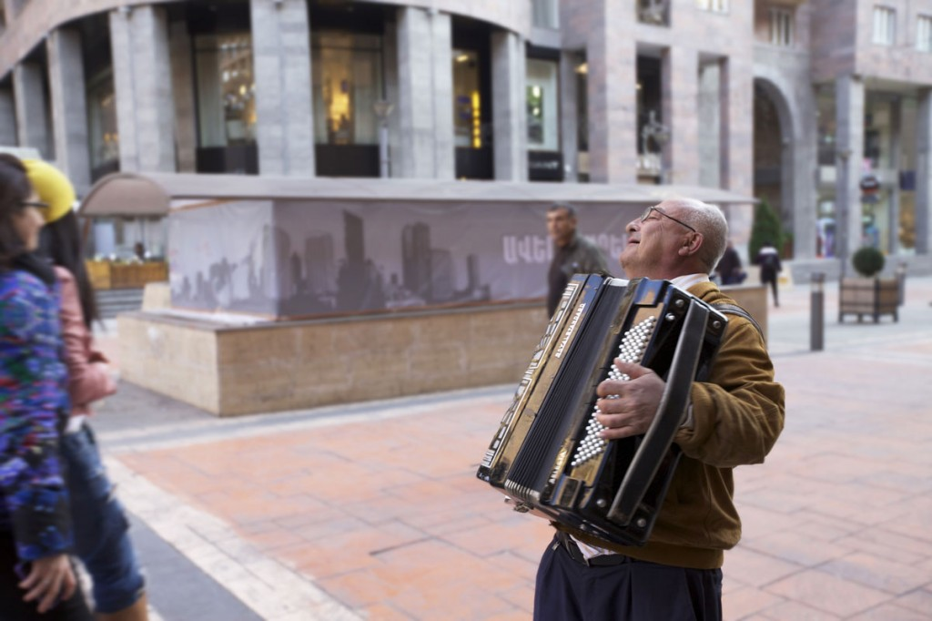 Accordion man entertains passerby's in Yerevan