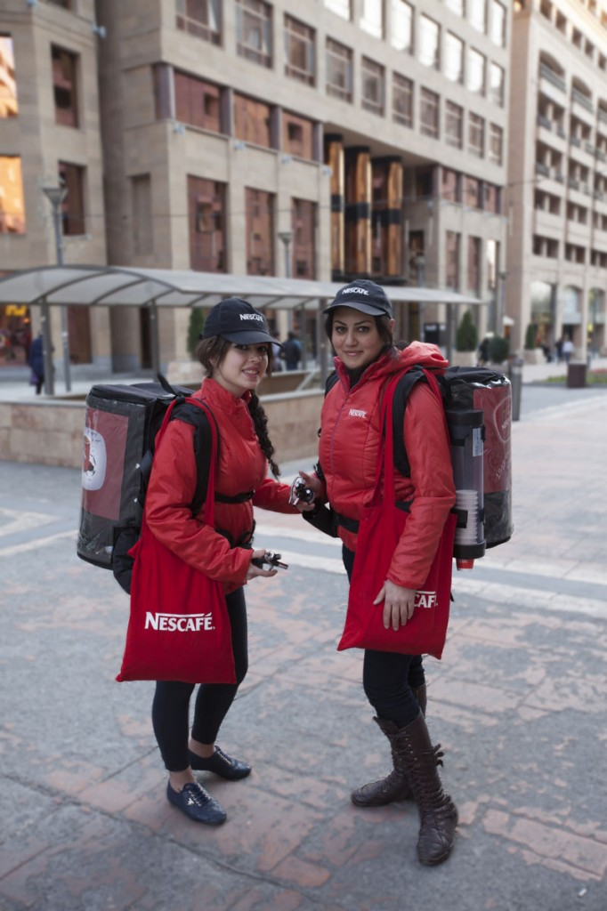 Nescafe reps handing out nice hot beverages